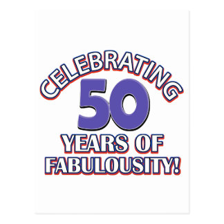 50 year old birthday design postcard