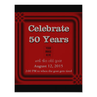 "50 Years Celebration Old Goat Photo Invitations 4.25"" X 5.5"" Invitation Card"
