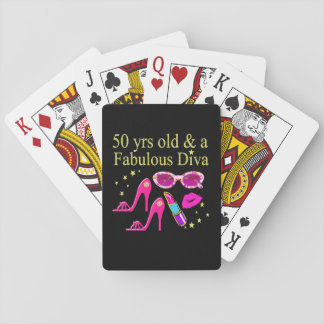 50 YEARS OLD AND A FABULOUS DIVA DESIGN PLAYING CARDS