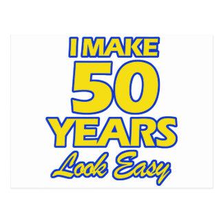 50 YEARS OLD BIRTHDAY DESIGNS POSTCARD