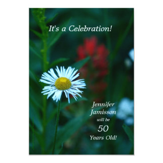"""50 Years Old Birthday Party Invites White Flower 5"""" X 7"""" Invitation Card"""