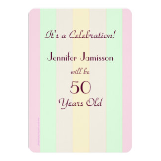 """50 Years Old Pastel Striped Party Invite 5"""" X 7"""" Invitation Card"""