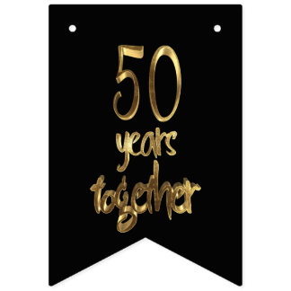 50 Years Together Golden Wedding 50th Anniversary Bunting Flags