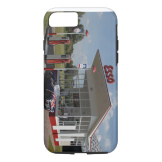 50s gas station with union jack car iPhone 7 case