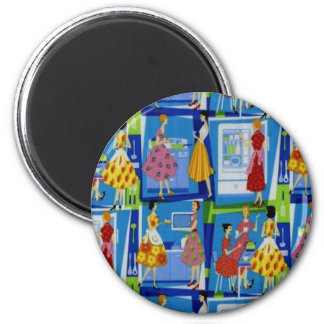 50's Housewife Design 2 Inch Round Magnet