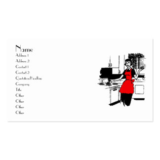 50's Housewife with Red Apron Business Card Templates