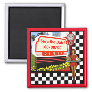 50s Retro Diner Save the Date Magnet