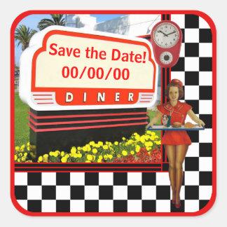50s Retro Diner Save the Date Square Sticker