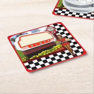 50s Retro Diner Square Paper Coaster