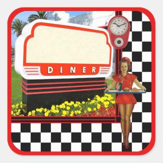 50s Retro Diner Square Sticker