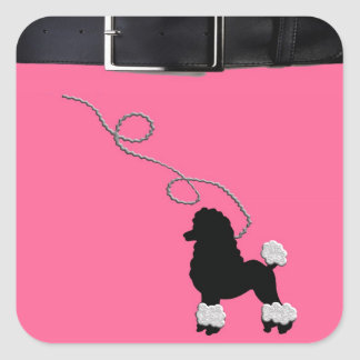 50s Retro Poodle Skirt Square Sticker