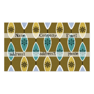 50's retro textured pattern with green/brown backg business card