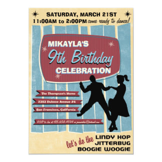 50s Sock Hop Dance Party Invitation