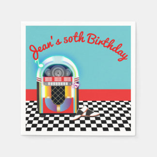 50's Sock Hop Dance Party Jukebox Red Custom Napkin