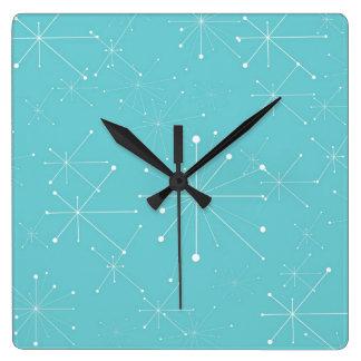 50s Style Retro Pattern Square Wall Clock