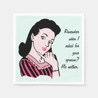 50s Woman Sarcasm Disposable Napkins