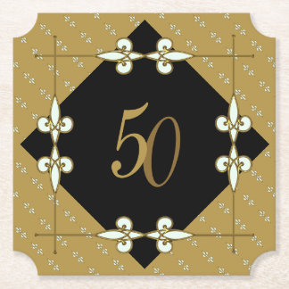 50th (10-99) Wedding/Birthday Vintage Art Deco Paper Coaster
