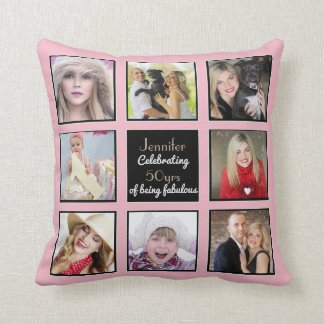 50th 40th 30th 21st Instagram PHOTO Collage Pink Throw Pillow