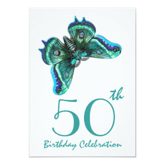 50th - 59th Birthday Party Invite Teal Butterfly