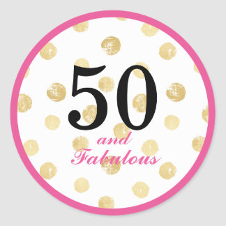 50th and fabulous birthday party classic round sticker