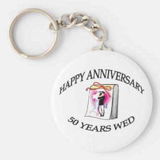 50th. Anniversary Basic Round Button Keychain