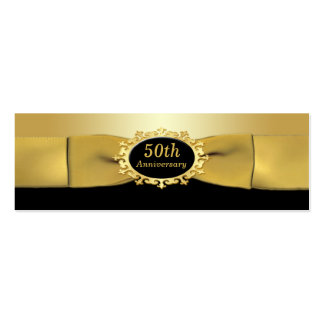 50th Anniversary Black and Gold Favor Tag Double-Sided Mini Business Cards (Pack Of 20)