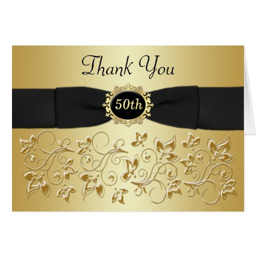 50th Anniversary Black Gold Floral Thank You Card Card