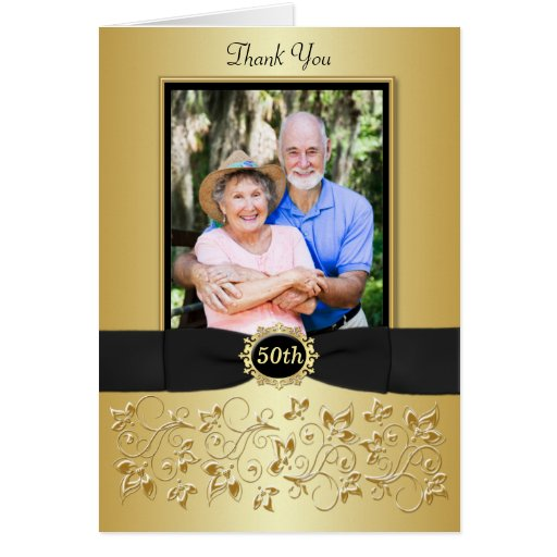 50th Anniversary Black Gold Floral Thank You Card Greeting Card
