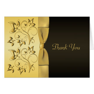 50th Anniversary Black, Gold Floral Thank You Card