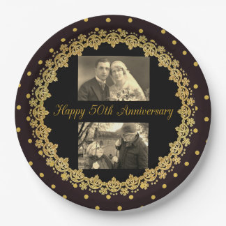50th Anniversary Black & Gold Personalized Plate 9 Inch Paper Plate
