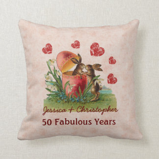 50th Anniversary Cute Vintage Rabbits Kissing A05 Throw Pillow
