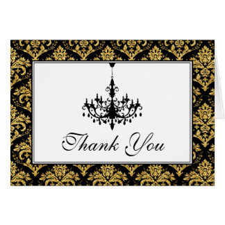 50th Anniversary Damask, Chandelier Thank You Card