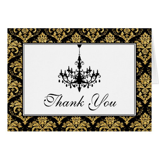 50th Anniversary Damask, Chandelier Thank You Card Card