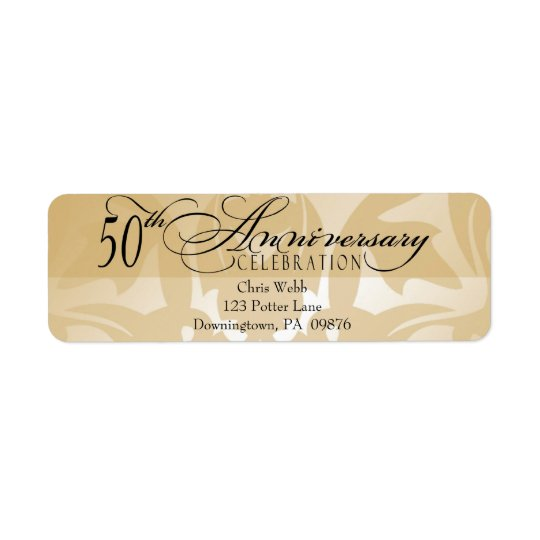 50th Anniversary Damask Return Address Label