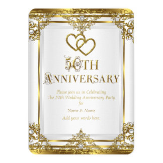 50th Anniversary Elegant Gold White Pearl Card