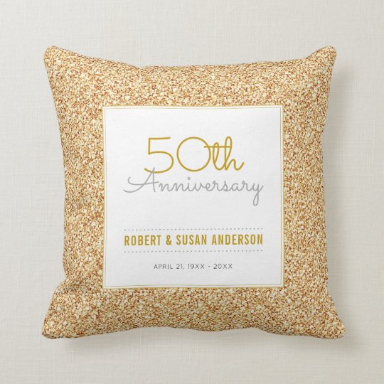 50th Anniversary Faux Gold Glitter Keepsake Throw Pillow