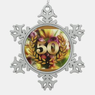 50th anniversary floral illustration golden frame ornament