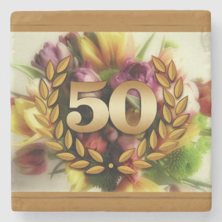 50th anniversary floral illustration golden frame stone beverage coaster