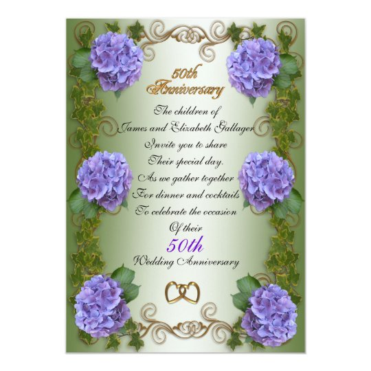 Quot th anniversary for parents hydrangea floral card