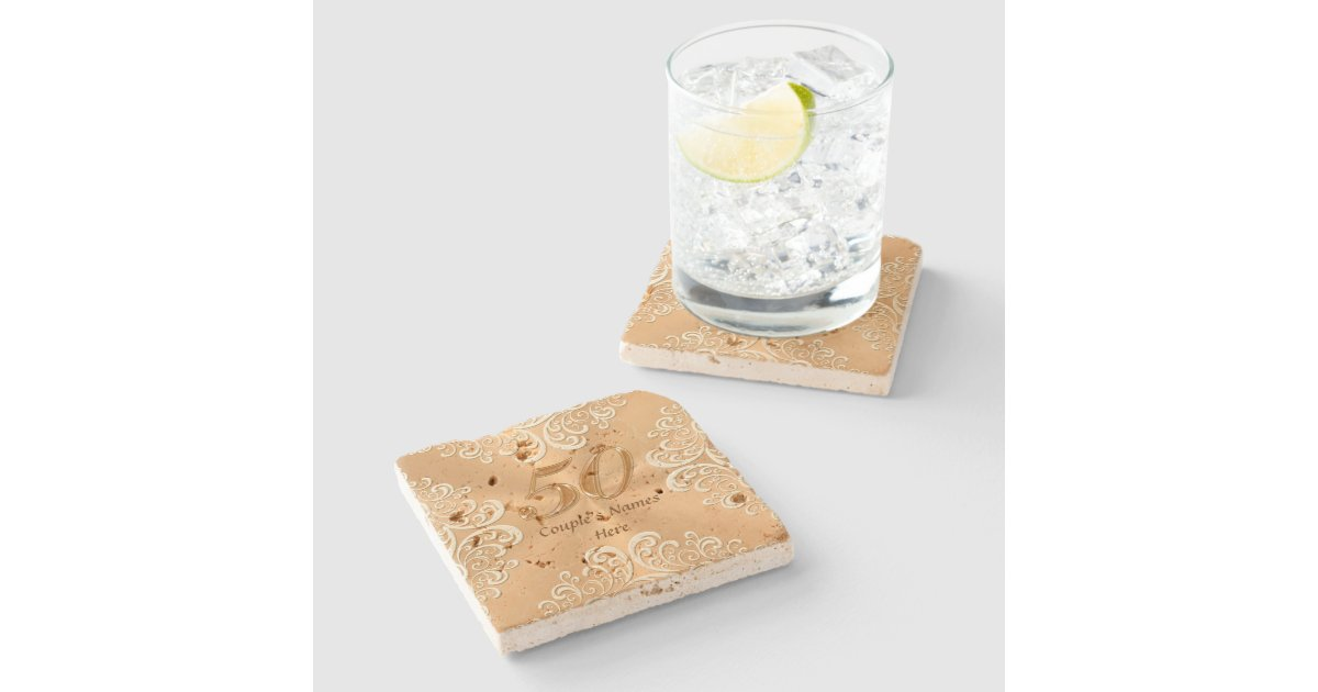 50th Anniversary Gifts Ideas Personalized Coasters Stone Beverage Coaster Zazzle
