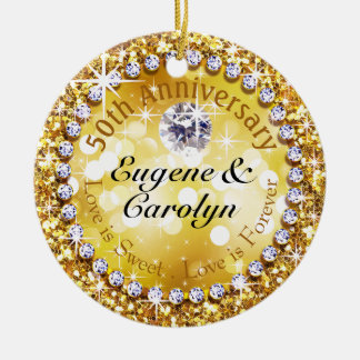 50th Anniversary Glitzy Diamond Bling | gold Double-Sided Ceramic Round Christmas Ornament