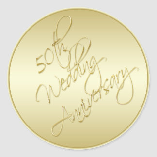 "50th Anniversary Gold 1.5"" Diameter Round Sticker"