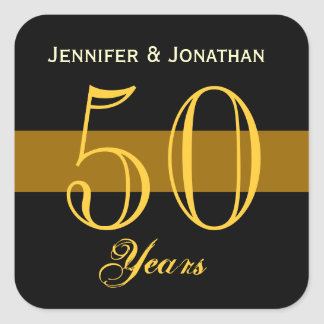 50th Anniversary Gold and Black Square Sticker