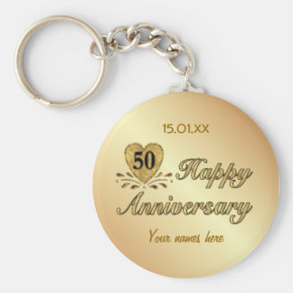 50th Anniversary - Gold Basic Round Button Keychain