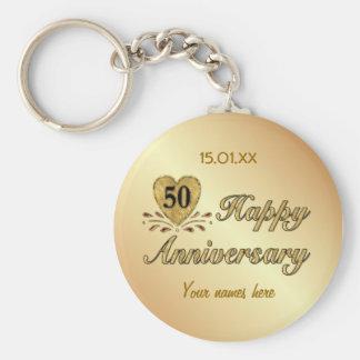 50th Anniversary - Gold Basic Round Button Keychain