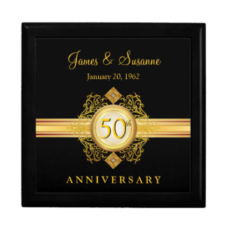 50th Anniversary Gold Black Keepsake Gift Box