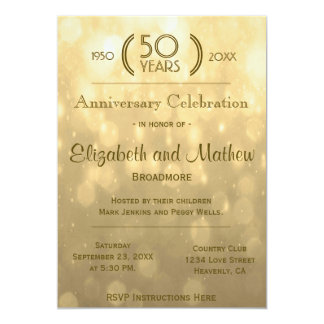 "50th Anniversary | Gold Bokeh Lights 5"" X 7"" Invitation Card"