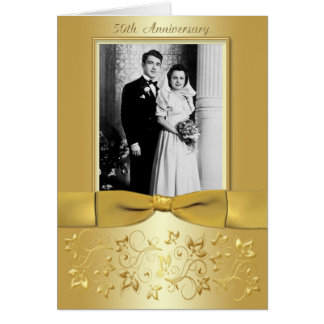 50th Anniversary Gold Floral Photo Invitation Card