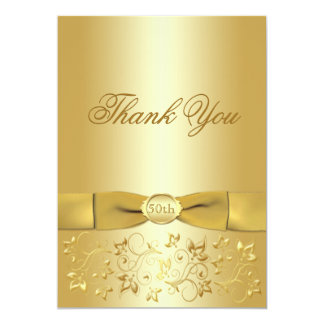 """50th Anniversary Gold Floral Thank You Card 5"""" X 7"""" Invitation Card"""