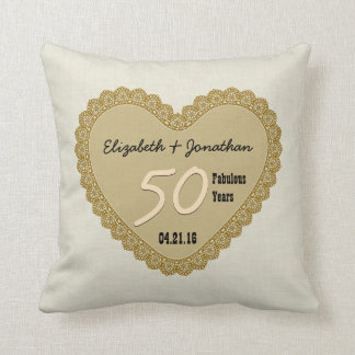 50th Anniversary Gold Lace Heart Custom Names V01 Throw Pillow